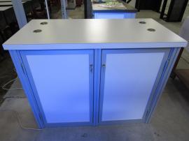 MOD-1700c Backlit Counter with SEG Fabric Graphic, Locking Storage, and Wireless/Wired Charging Ports