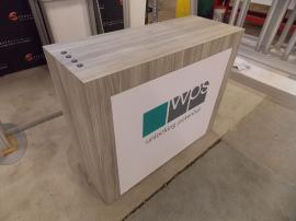 Custom Wood Counter with Locking Storage, Backlit Fabric Graphic, USB Charging Ports, and Pocket Counter Top Extension